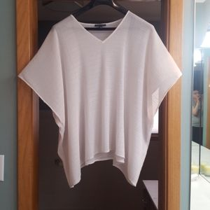 EILEEN FISHER OFF WHITE TEXTURED OVERSIZED TOP
